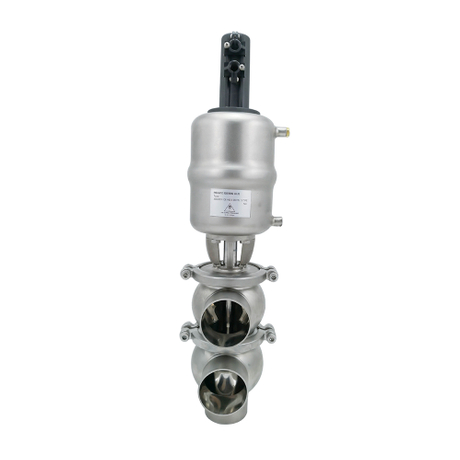 Sanitary Pneumatic 3 Way Flow Diversion Diverter Valves