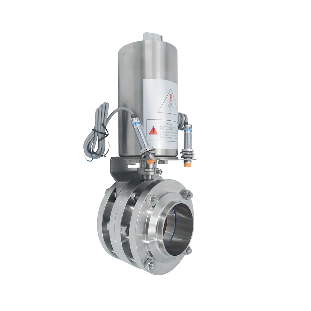 Food Grade Pneumatic Three Pieces Sanitary Butterfly Valves