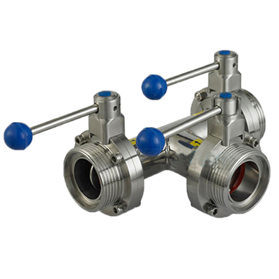 Stainless Steel AISI304 Sanitary Manual Three-way Butterfly Valves
