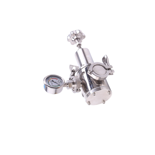 Stainless Steel Sanitary Pneumatic Tank Bottom Valve with Pressure Gage
