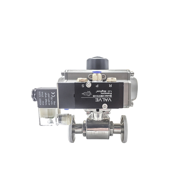 Sanitary Two Ways Tri Clamp Ball Valves with Pneumatic Actuator and Solenoid Valve