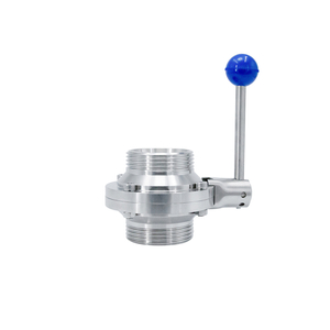 SS304 SS316L Stainless Steel Sanitary Threaded Ball Valve with Butterfly Type