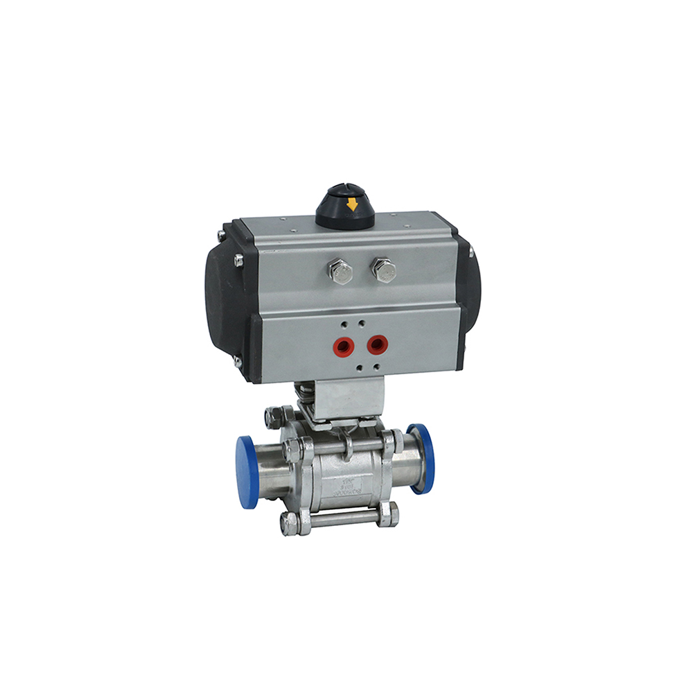 Stainlesssteel Sanitary Peumatic 3-Pieces Ball Valves with Clamping Ends