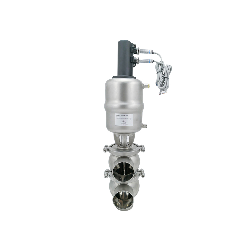 Stainless Steel Hygienic Double Seat Divert Valve with Limited Switch